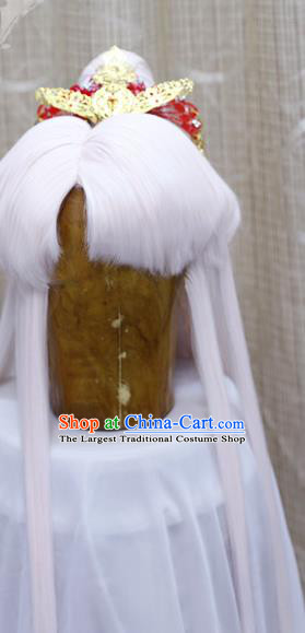 Cosplay Swordsman Ying Chuixue White Wig Sheath Handmade China Ancient Taoist Chivalrous Male Wigs and Hair Crown