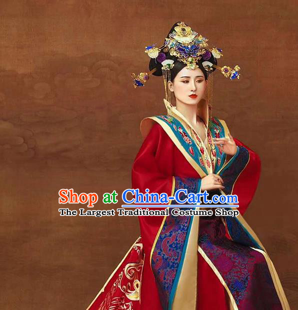 Chinese Ancient Imperial Consort Red Hanfu Dress Traditional Tang Dynasty Court Women Apparels Costumes and Headdress Complete Set