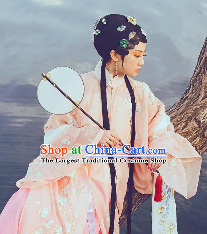 Chinese Ancient Patrician Lady Hanfu Dress Traditional Ming Dynasty Noble Female Costumes and Hair Accessories Full Set
