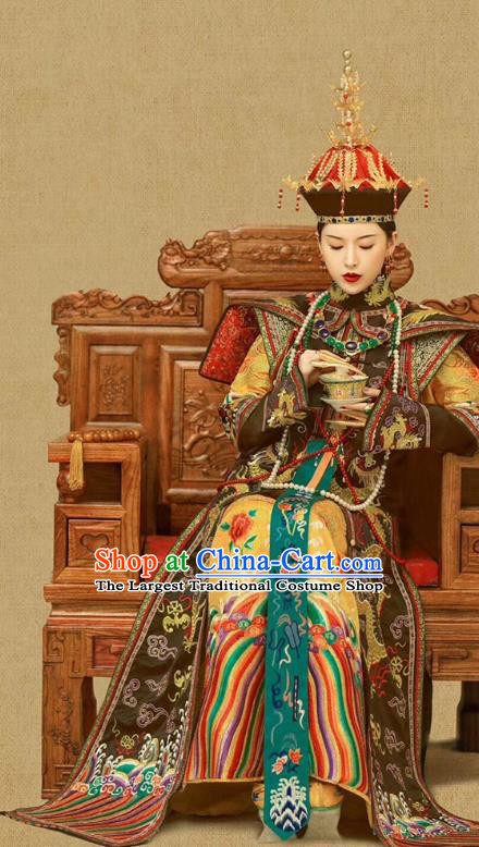 Chinese Ancient Manchu Queen Ruyi Embroidered Dress Traditional Qing Dynasty Court Empress Costumes and Phoenix Hat