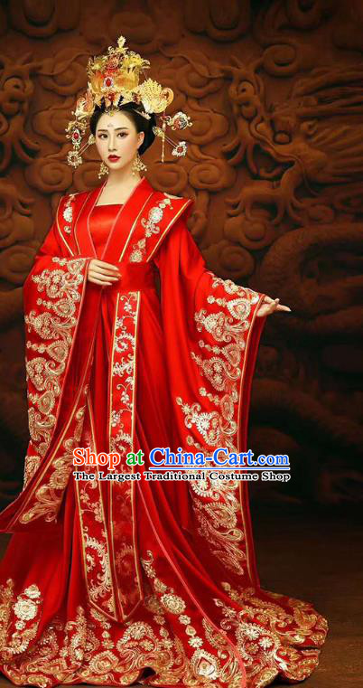 Chinese Traditional Tang Dynasty Costumes Ancient Princess Red Hanfu Dress Clothing and Phoenix Coronet Complete Set