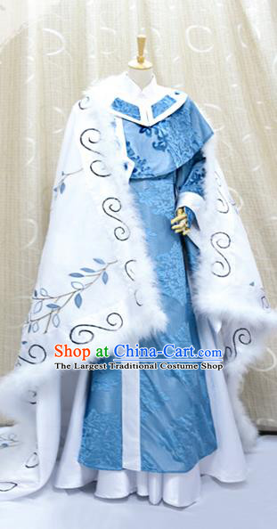 Cosplay Swordsman Fu Yingshi Costumes Custom China Ancient Taoist Priest Blue Clothing with Cape