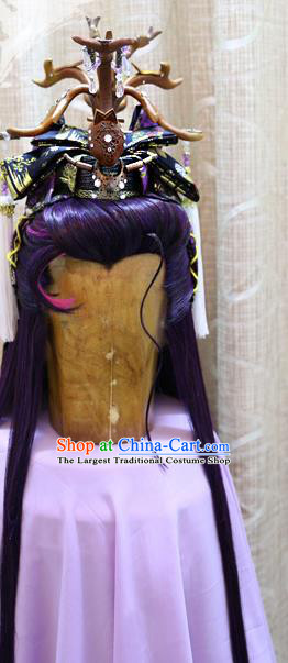 Cosplay Dragon King Wig Sheath Handmade China Ancient Swordsman Prince Purple Wigs Style and Hair Accessories