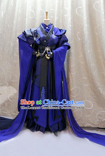Cosplay Swordsman Jian Feidao Costumes Custom China Ancient Warrior Blue Clothing