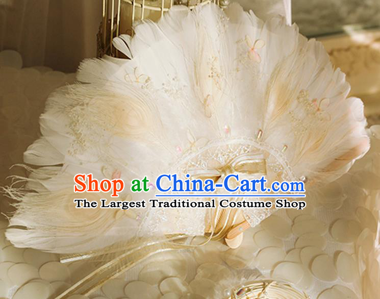 Halloween Beige Feather Folding Fans Handmade Custom Classical Bride Fan