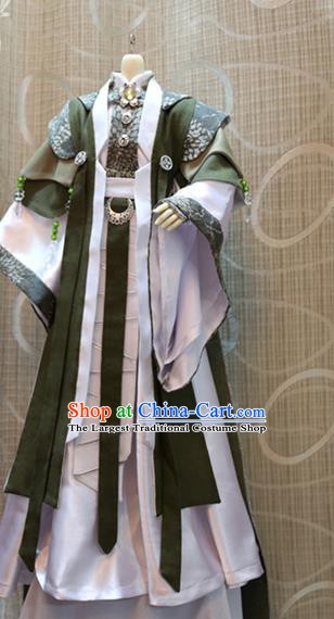 BJD Doll Chivalrous Man Costumes Custom China Ancient Cosplay Swordsman Green Clothing