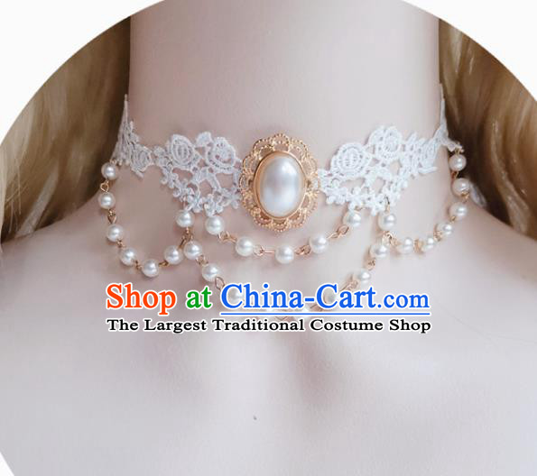 Europe Court White Lace Necklace Baroque Bride Pearls Necklet Halloween Cosplay Princess Accessories