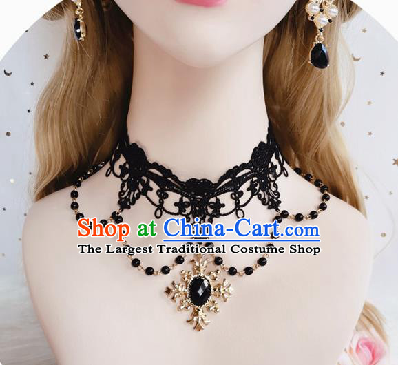 Top Gothic Black Lace Necklet Europe Court Necklace Halloween Cosplay Princess Stage Show Accessories