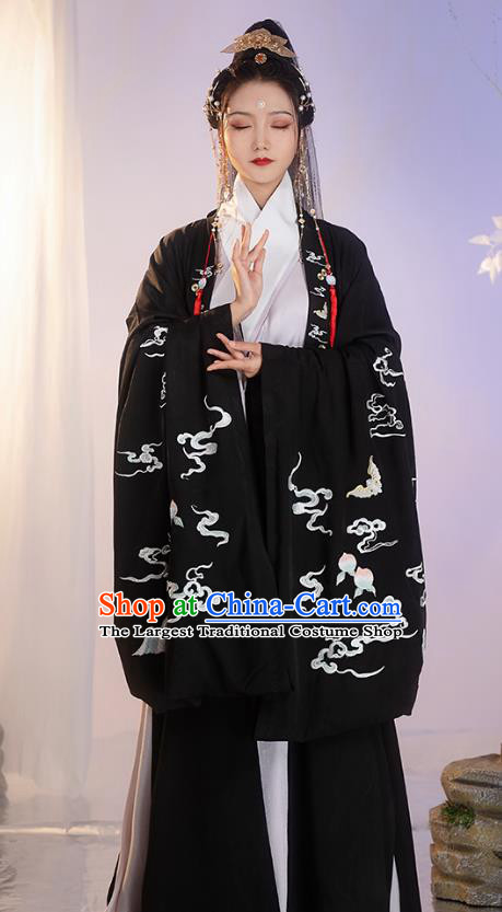 China Ancient Ming Dynasty Costume Taoist Apparels Embroidered Hanfu Black Cloak for Women for Men