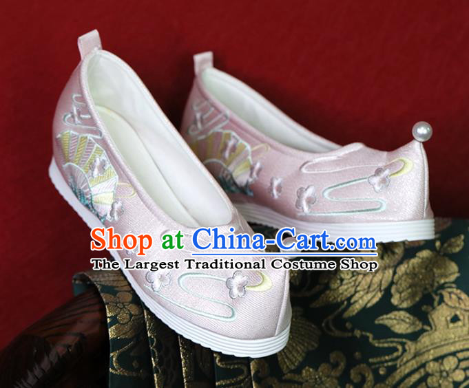 China Hanfu Shoes Princess Shoes Embroidered Shoes Ming Dynasty Young Lady Pink Satin Shoes Handmade Shoes