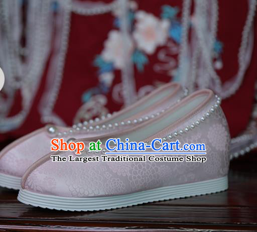China Hanfu Pearls Shoes Princess Shoes Handmade Shoes Pink Satin Shoes Women Shoes