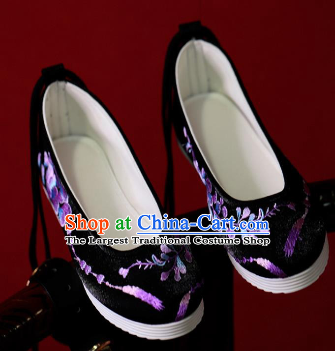 China Women Shoes Black Satin Shoes Princess Shoes Handmade Hanfu Shoes Embroidered Shoes