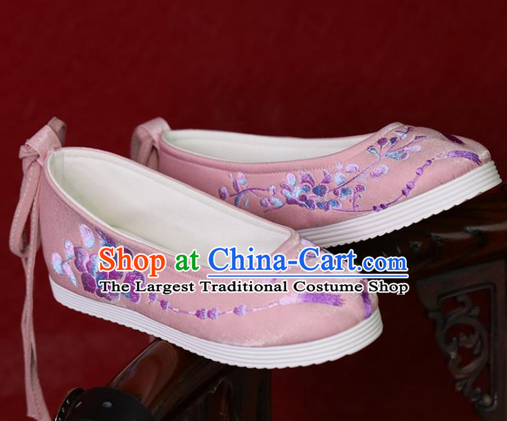 China Princess Shoes Embroidered Shoes Women Shoes Pink Satin Shoes Handmade Hanfu Shoes