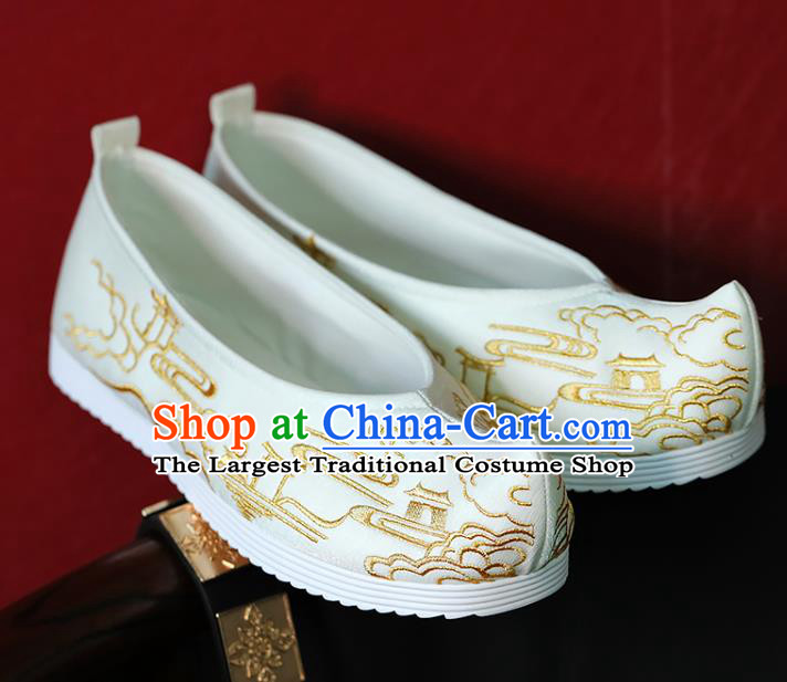China Embroidered White Shoes Hanfu Bow Shoes Ming Dynasty Princess Shoes Handmade Shoes