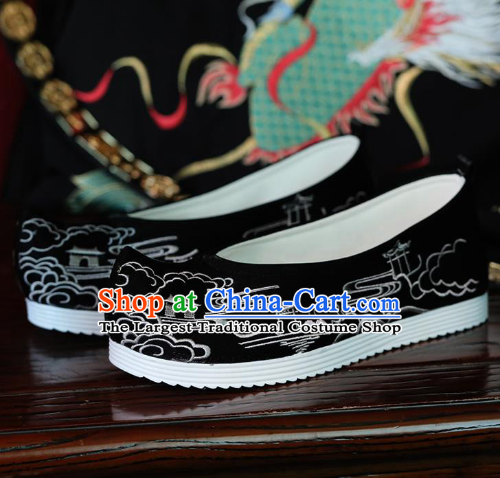 China Handmade Shoes Embroidered Black Shoes Hanfu Bow Shoes Ming Dynasty Princess Shoes