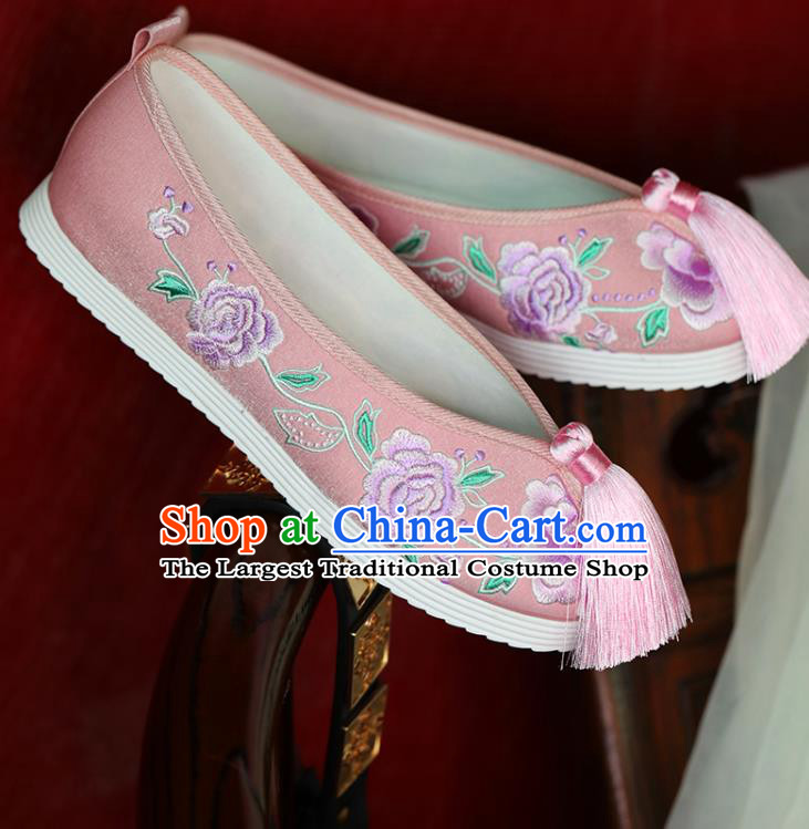 China Hanfu Pearls Shoes Princess Shoes Handmade Beijing Cloth Shoes Embroidered Peony Pink Shoes
