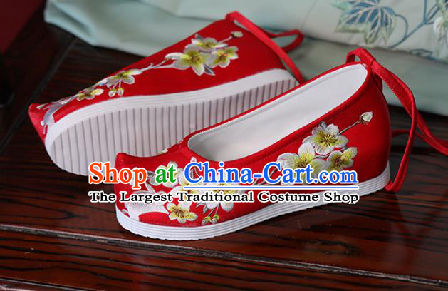 China Hanfu Red Bow Shoes Princess Shoes Handmade Cloth Shoes Embroidered Pear Flowers Rabbit Shoes