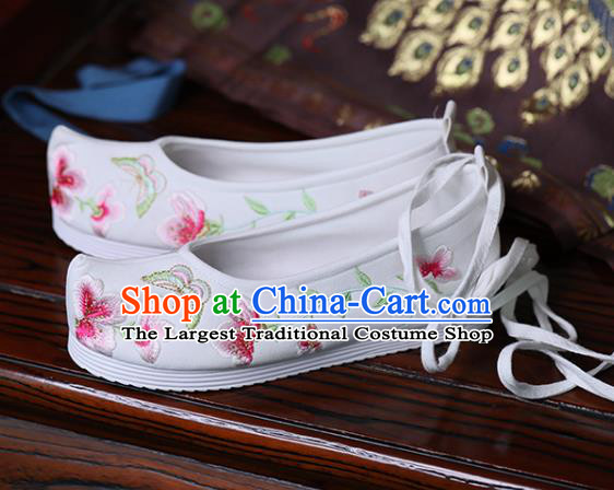 China White Cloth Shoes Handmade Bow Shoes Princess Shoes Hanfu Shoes Embroidered Butterfly Flowers Shoes