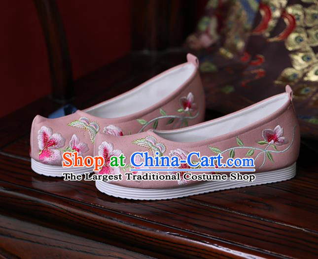 China Handmade Bow Shoes Princess Shoes Hanfu Shoes Embroidered Butterfly Flowers Shoes Pink Cloth Shoes