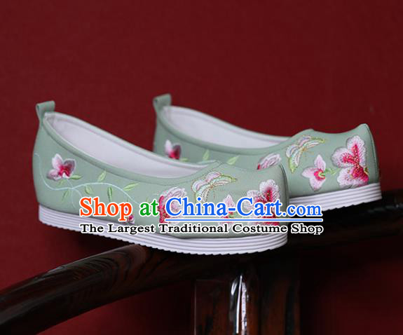 China Hanfu Shoes Princess Shoes Embroidered Butterfly Flowers Shoes Green Cloth Shoes Handmade Bow Shoes