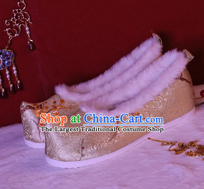China Ancient Bow Shoes Ming Dynasty Princess Shoes Golden Brocade Shoes Handmade Winter Shoes Hanfu Shoes