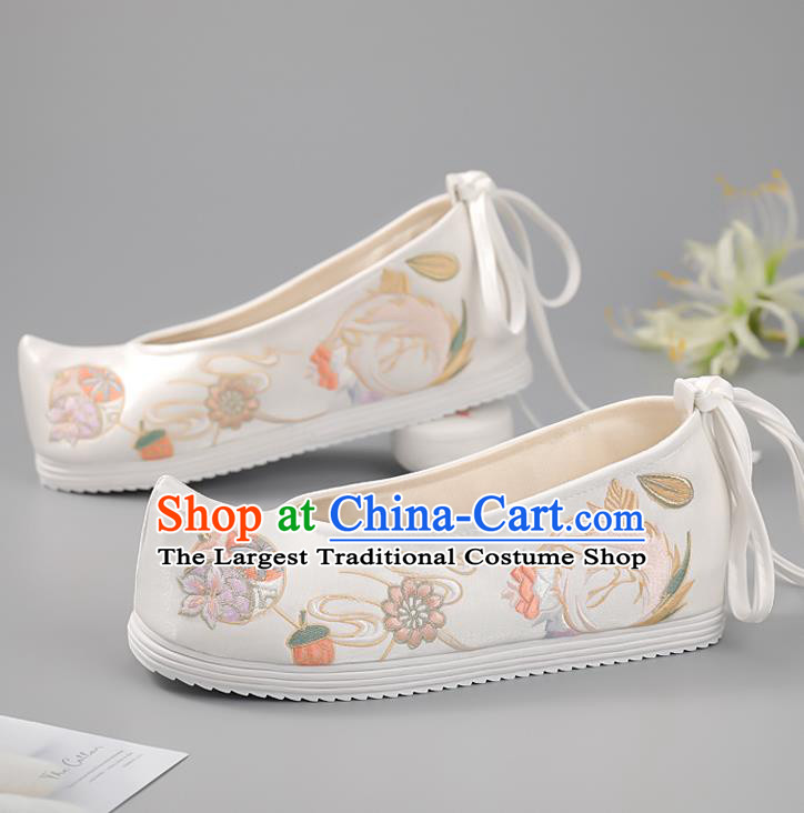 China Embroidered Phoenix Shoes Princess Shoes Ming Dynasty Shoes Traditional Hanfu Shoes Handmade White Cloth Shoes