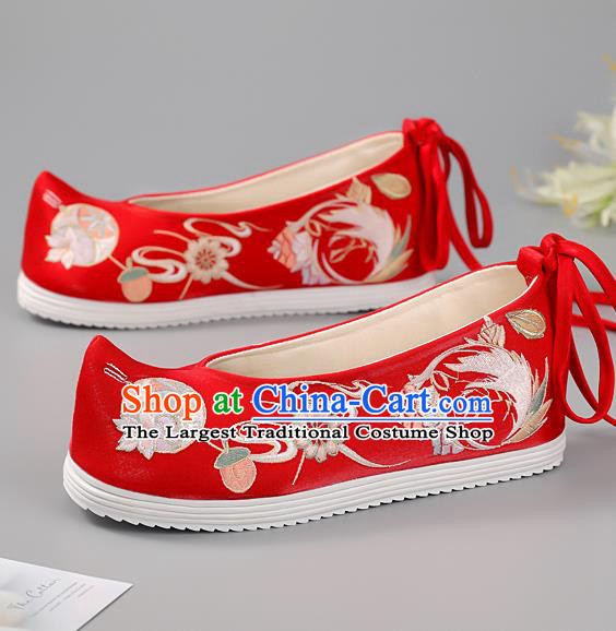 China Princess Shoes Ming Dynasty Shoes Traditional Hanfu Shoes Handmade Cloth Shoes Red Embroidered Phoenix Shoes