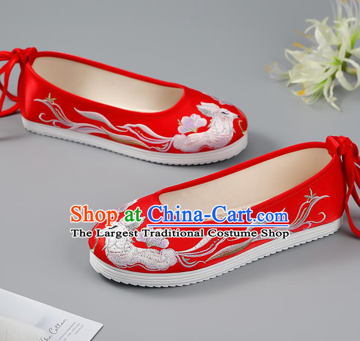 China Red Embroidered Shoes Princess Shoes Traditional Hanfu Shoes Handmade Cloth Shoes Ancient Wedding Shoes