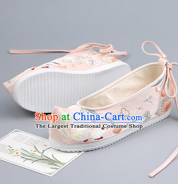 China Ancient Princess Pink Bow Shoes Traditional Hanfu Shoes Embroidered Squirrel Shoes Handmade Cloth Shoes