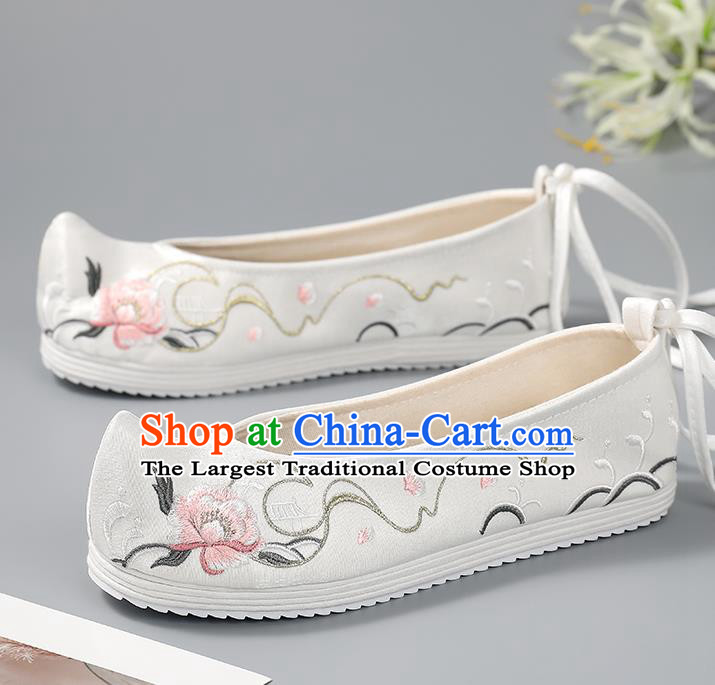 China Ancient Princess Embroidered Shoes White Bow Shoes Traditional Hanfu Shoes Handmade Cloth Shoes