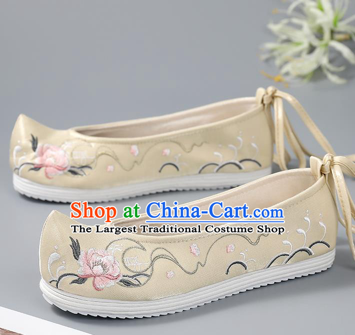 China Handmade Light Yellow Cloth Shoes Ancient Princess Bow Shoes Traditional Embroidered Shoes Hanfu Shoes
