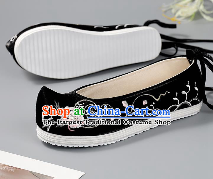China Handmade Cloth Shoes Ancient Princess Bow Shoes Traditional Hanfu Shoes Black Embroidered Shoes