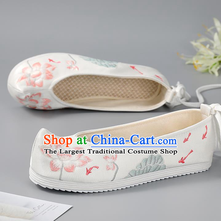 China Hanfu Shoes Handmade Cloth Shoes Ancient Princess Bow Shoes Traditional Embroidered Lotus Shoes