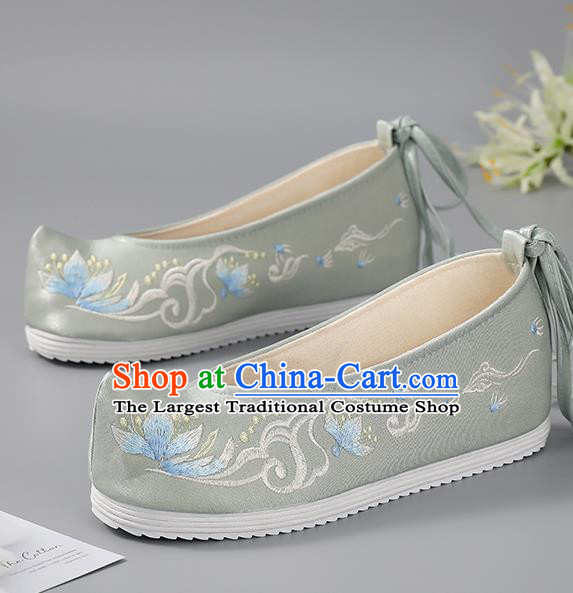 China Traditional Grey Embroidered Shoes Hanfu Shoes Handmade Cloth Shoes Ancient Princess Shoes Women Shoes