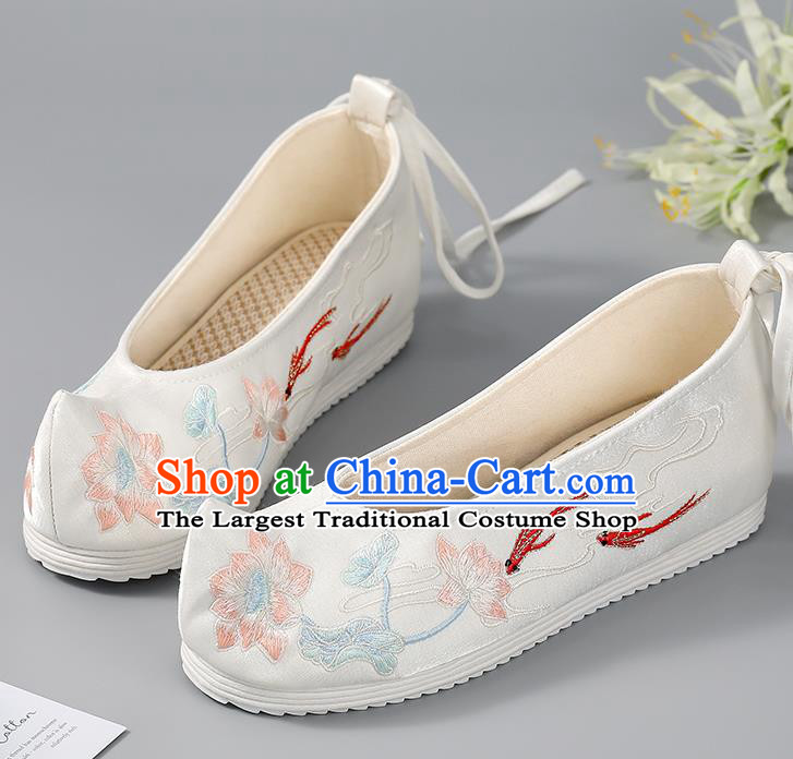 China Embroidered Lotus Fishes Shoes Hanfu Shoes Ancient Princess Shoes Traditional Women Shoes Handmade Cloth Shoes