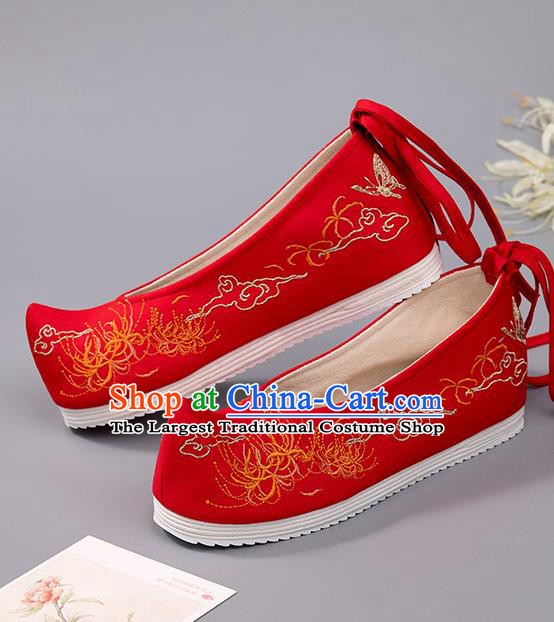 China Wedding Shoes Ancient Princess Shoes Embroidered Manjusaka Shoes Handmade Red Cloth Shoes Hanfu Bride Shoes