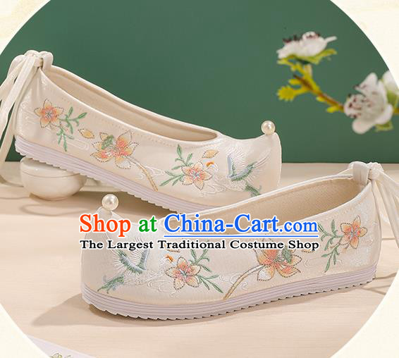 China Bow Shoes Handmade Princess Shoes Traditional Hanfu Cloth Shoes Embroidered Flower Bird Shoes