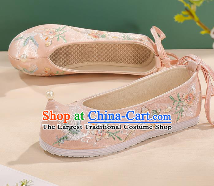 China Embroidered Flower Crane Shoes Pink Bow Shoes Handmade Princess Shoes Traditional Hanfu Cloth Shoes