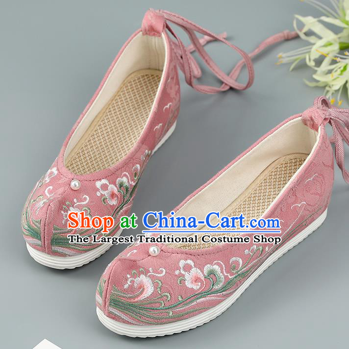 Top China Pearl Princess Shoes Embroidered Shoes Handmade National Shoes Traditional Hanfu Pink Cloth Shoes