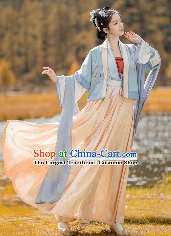 China Traditional Ancient Village Girl Costumes Song Dynasty Civilian Female Hanfu Clothing