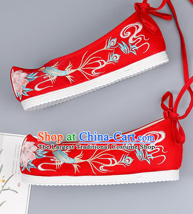Traditional China Bride Shoes Handmade Hanfu Shoes Red Cloth Shoes National Shoes Embroidered Shoes Wedding Shoes