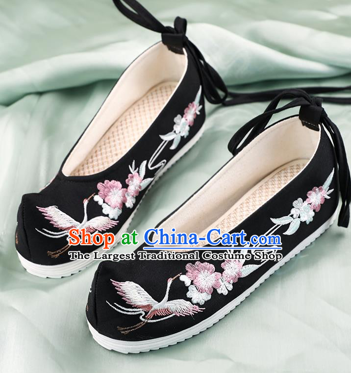 China Traditional Embroidered Crane Plum Shoes Hanfu Shoes Handmade Shoes National Shoes Black Cloth Shoes