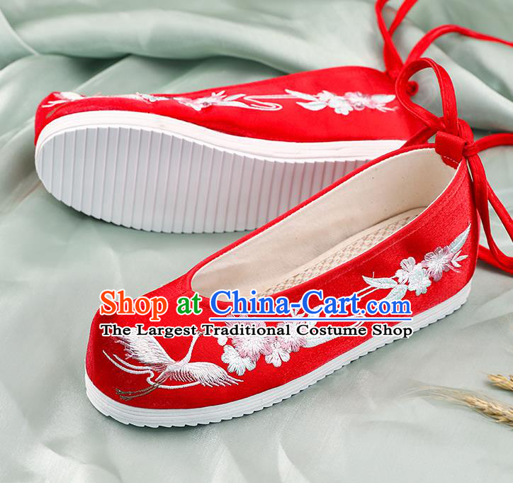 China Handmade Shoes National Shoes Cloth Shoes Traditional Embroidered Crane Plum Shoes Hanfu Red Bow Shoes