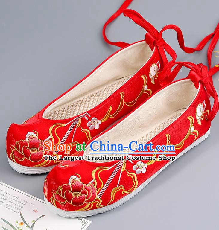 Traditional China Wedding Shoes Handmade Shoes National Shoes Red Cloth Shoes Embroidered Peony Shoes Bride Shoes