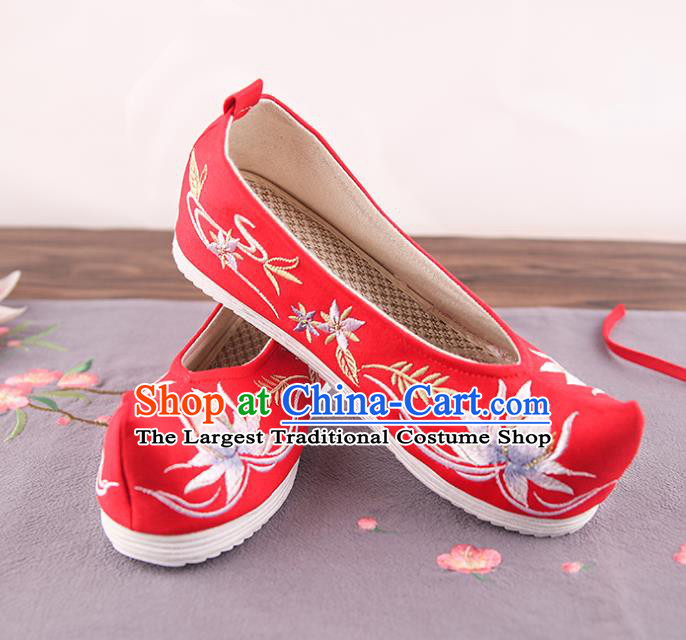 Traditional China Handmade Shoes National Shoes Red Cloth Shoes Embroidered Lotus Shoes Bride Shoes Wedding Shoes