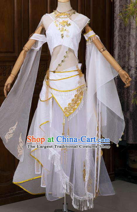 Chinese Cosplay Fairy White Hanfu Dress Ancient Female Swordsman Top and Skirt Complete Set