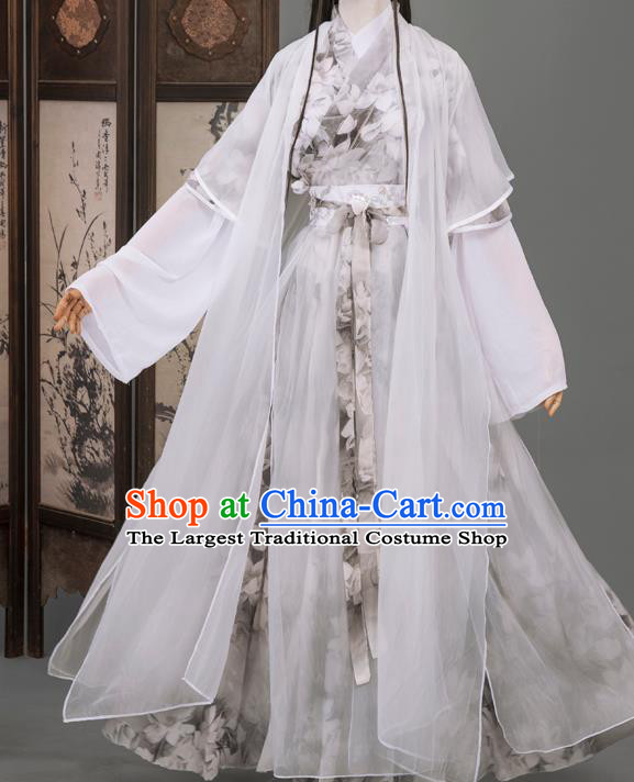 Cosplay Chinese Chivalrous Man Costumes Ancient Swordsman Chu Wangning White Chiffon Clothing