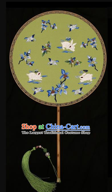 Chinese Dance Round Fan Traditional Silk Fan Double Sides Embroidered Fans Suzhou Embroidery Palace Fan