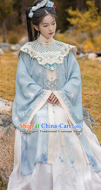 China Ming Dynasty Nobility Women Hanfu Dress Ancient Palace Princess Costumes Traditional Embroidered Clothing