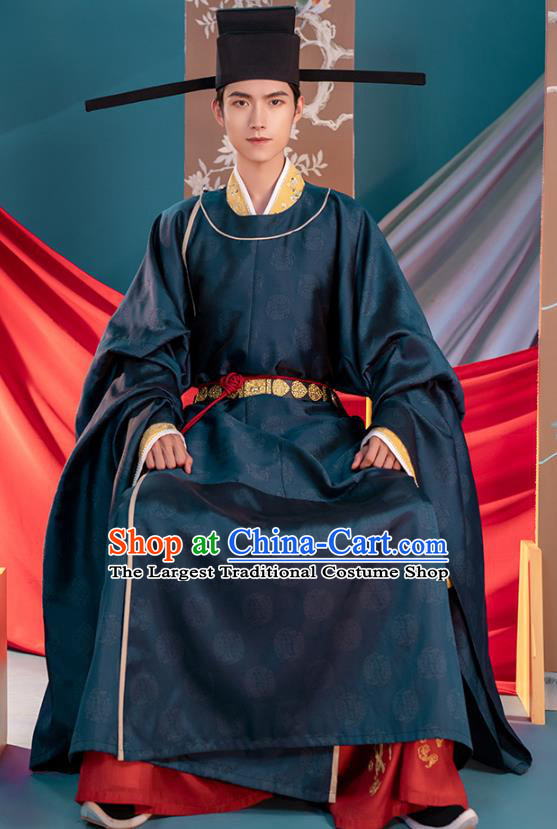 Traditional China Song Dynasty Emperor Zhao Zhen Hanfu Clothing Ancient Imperator Costumes Navy Robe and Pants Full Set